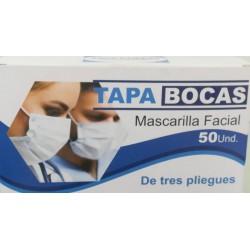 Tapa Bocas Mascarilla Facial de tres pliegues por 50 Unidades