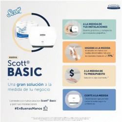 COMBO DE 1 DISPENSADOR SCOTT ® BASIC CAPACIDAD MEDIA Y 4 ROLLOS DE TOALLA DE MANOS SCOTT® DE 200MT 30229410