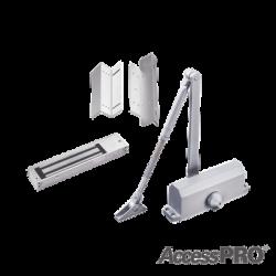 Kit para control de acceso incluye Chapa magnética de 600Lbs / Montajes L y Z / Cierra puerta para 45-65Kg.