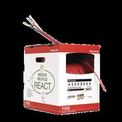 Bobina de 152 metros de alambre calibre 14 AWG en 2 hilos, caja REACT, tipo FPLP-CL2P, resistente al fuego, color rojo, para s