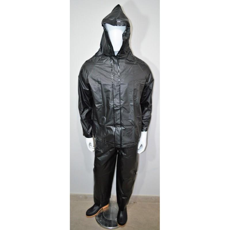 Impermeable Pantalon Chaqueta Negro Con Reflectivo. (C/16, Talla M-L-Xl)