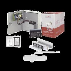 Sistema Completo de Acceso, Incluye Teclado Anti-Vandalico, Chapa magnética con bracket, Cierra puerta, Botón de Salida, Cable