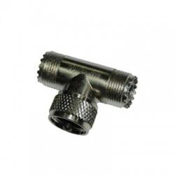 "Adaptador ""T"" AMPHENOL de UHF Macho (PL-259) a Doble UHF Hembra (SO-239) para Duplexers WP-629, WP-639 o WP-641."
