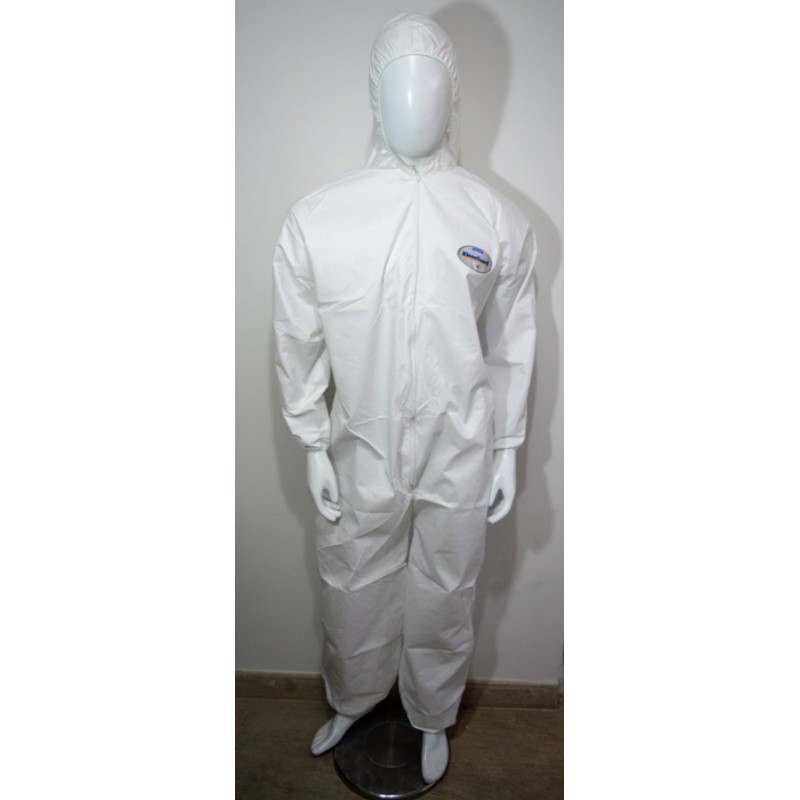 Traje Blanco En Polipropileno Con Capucha Contra Particulas Y Salpicaduras