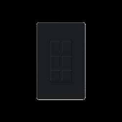 Placa de 6 puertos color negro