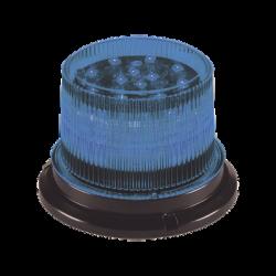 Baliza LED, 12 / 24 Vcd, lente transparente LED azul, 12 LED auxiliares en la parte superior brindan una iluminación vertical