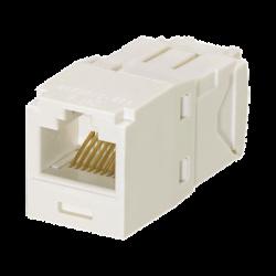Conector Jack RJ45 Estilo TG, Mini-Com, Categoría 6, de 8 posiciones y 8 cables, Color Blanco Mate