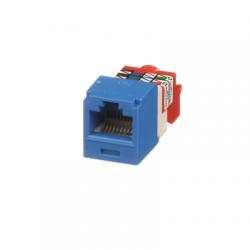 Conector Jack RJ45 Estilo T, Mini-Com, Categoría 5e, de 8 posiciones y 8 cables, Color Azul