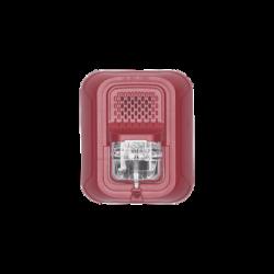 Sonorizador Tipo Chime con Lámpara Estroboscópica a 2 Hilos, Montaje en Pared, Color Rojo, con Configuración Estroboscópica