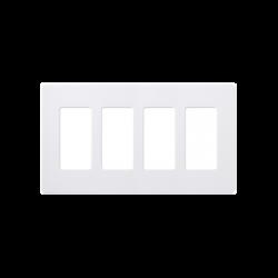 Placa de pared 4 espacios, color blanco, para atenuador (dimmer), switch ó control remoto PICO inalámbrico