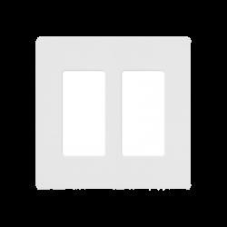 Placa de pared 2 espacios, para atenuador (dimmer), apagador ó control remoto inalámbrico LUTRON.