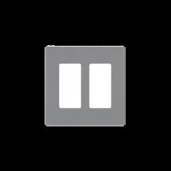 Placa de pared 2 espacio, para atenuador (dimmer), switch ó control remoto PICO inalámbrico.