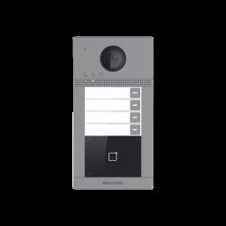 Videoportero IP WIFI (IP65 + IK08) con Llamada y apertura desde APP Hik-Connect / Soporta 4 Departamentos / PoE Estandar / Inter