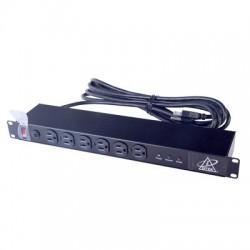 Protector de 12 tomas para circuito de 110 V / 15 A, tipo rack.