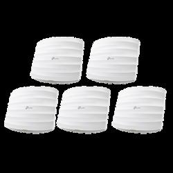Kit de 5 Puntos de Accesso Omada doble banda 802.11ac, MU-MIMO, PoE af y PoE Pasivo, soporta hasta 100 clientes, hasta 1350 Mbps