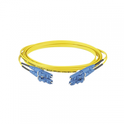 Jumper de Fibra Optica Monomodo 9/125 OS2, LC-LC Duplex, OFNR (Riser), Color Amarillo, 5 Metros