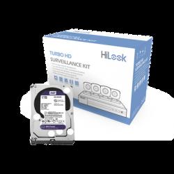 KIT TurboHD 1080p / DVR 4 canales / 4 Cámaras Bala de Metal / Fuente de Poder / 1 Disco Duro 1TB / Accesorios de Instalación