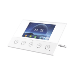 """Monitor IP/SIP para interior, Wi-Fi, pantalla a color de 4.3"""", audio de 2 vías, PoE, 8 interfaces de entrada de alarma."""