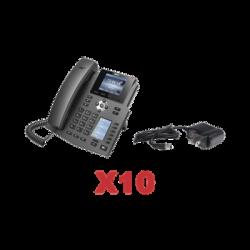 Kit de 10 teléfonos Empresariales con pantalla a color, botonera de hasta 40 contactos, incluyen fuente de alimentación y son
