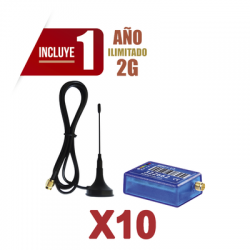 KIt de 10 Comunicadores de Alarma MINI012G con Antena 2G / Incluyen 1 Año de Cobertura / Aplicación Gratuita / Cero Configurac