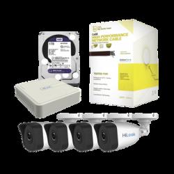 Kit IP 1080p / NVR de 4 Canales / 4 Cámaras IP / Bobina de Cable de 100 mts / Disco Duro 1 TB