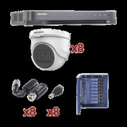 Kit TURBOHD 1080p / DVR 8 Canales / 8 Cámaras Turret (exterior 2.8 mm) / Conectores / Transceptores / Fuente de Poder Profesion