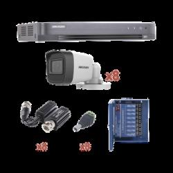 KIT TurboHD 1080p / DVR 8 Canales / 8 Cámaras Bala (exterior 2.8 mm) / Transceptores / Conectores / Fuente de Poder Profesional