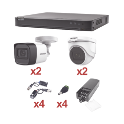 KIT TurboHD 1080p / DVR 4 Canales / 2 Cámaras Bala (exterior 2.8 mm) / 2 Cámaras Domo (interior 2.8 mm) / Transceptores / Cone