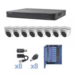 KIT TurboHD 1080p / DVR 8 Canales / 8 Cámaras Eyeball (exterior 2.8 mm) / Transceptores / Conectores / Fuente de Poder Profesio