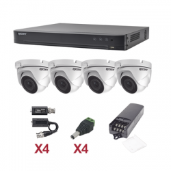 KIT TurboHD 1080p / DVR 4 Canales / 4 Cámaras Eyeball (exterior 2.8 mm) / Transceptores / Conectores / Fuente de Poder Profesio