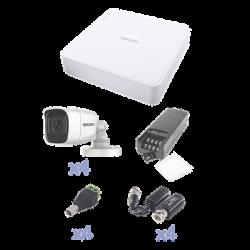 KIT TurboHD con Audio 1080p / DVR 4 Canales / 4 Cámaras Bala (exterior 2.8 mm) / Transceptores / Conectores / Fuente de Poder /