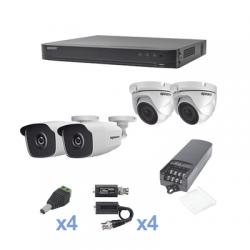 KIT TurboHD 1080p / DVR 4 Canales / 2 Cámaras Bala (exterior 2.8 mm) / 2 Cámaras Eyeball (exterior 2.8 mm) / Transceptores /