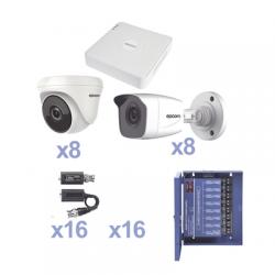 KIT TurboHD 720p / DVR 16 Canales / 8 Cámaras Bala (exterior 3.6 mm) / 8 Cámaras Eyeball (interior 3.6 mm) / Transceptores / C