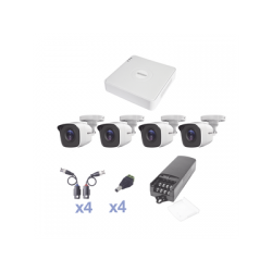 KIT TurboHD 720p / DVR 4 Canales / 4 Cámaras Bala (exterior 2.8 mm) / Transceptores / Conectores / Fuente de Poder Profesional