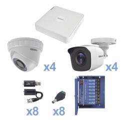 KIT TurboHD 720p / Incluye DVR 8Ch / 4 Cámaras Bullet (exterior 3.6 mm) / 4 Cámaras Domo (interior 2.8 mm) / Transceptores / C