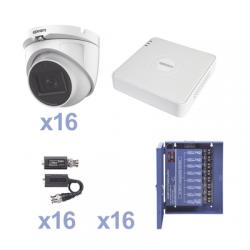 KIT TurboHD 720p / DVR 16 Canales / 16 Cámaras Eyeball (interior 3.6mm) / Transceptores / Conectores / Fuente de Poder Profesio