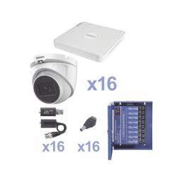 KIT TurboHD 720p / Incluye DVR 16ch / 16 cámaras domo 2.8mm / Transceptores / Conectores / Fuente de poder profesional Heavy Du