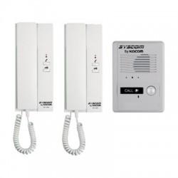 Kit de Audio Portero con 2 Auriculares y Frente de Calle