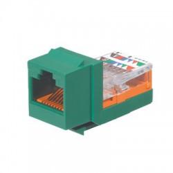 Conector Jack Estilo Leadframe, Tipo Keystone, Categoría 5e, de 8 posiciones y 8 cables, Color Verde