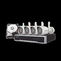 Kit IP Inalámbrico 4 Megapixel / NVR 4 Canales / 4 Cámaras Bala para Exterior / 1 HDD de 1 TB / Modo Repetidor