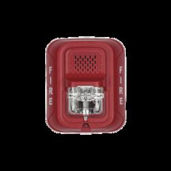 Sirena con Lámpara Estroboscópica a 2 Hilos, Montaje en Pared, Color Rojo, con Configuración Estroboscópica Seleccionable, N