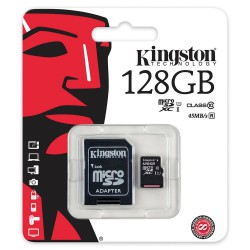 Memoria 128GB microSDXC Class 10 UHS-I 45MB/s Read Card + SD Adapter