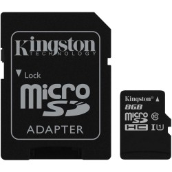Memoria 8GB microSDHC Class 10 UHS-I 45MB/s Read Card + SD Adapter