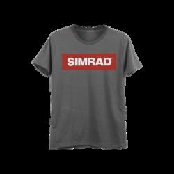Playera gris talla chica con logo de SIMRAD.