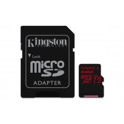 Tarjeta Micro SD 64GB  Canvas React Class 10 100MB/seg (lectura) 70Mb/seg Escritura 4K