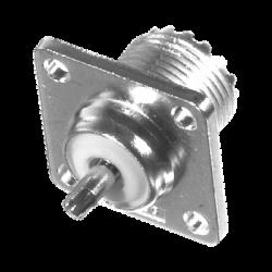 Conector UHF Hembra (SO-239) para Chasis 18 mm, Terminal Soldable, Bronce Blanco/ Oro/ Teflón.