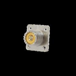 Conector UHF hembra (SO-239), montaje chasis con 4 perforaciones a 18 mm.