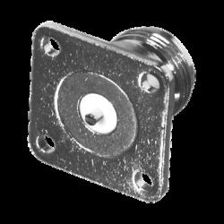 Conector N Hembra de Montaje en Panel Frontal de 4 Perforaciones a 18 mm. con Contacto Ranurado, Níquel/ Oro/ Teflón.