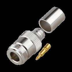Conector N Hembra Inverso de Anillo Plegable para Cables 9913, RG-8/U, LMR-400, Grupo I, Níquel/ Oro/ Teflón.