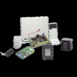Kit de alarma de 8 a 16 zonas híbrido incluye: sensor de movimiento inalámbrico, receptor inalámbrico, 2 contactos magnético